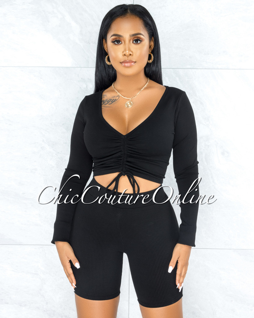 Giovanina Black Front Ruched Crop Top