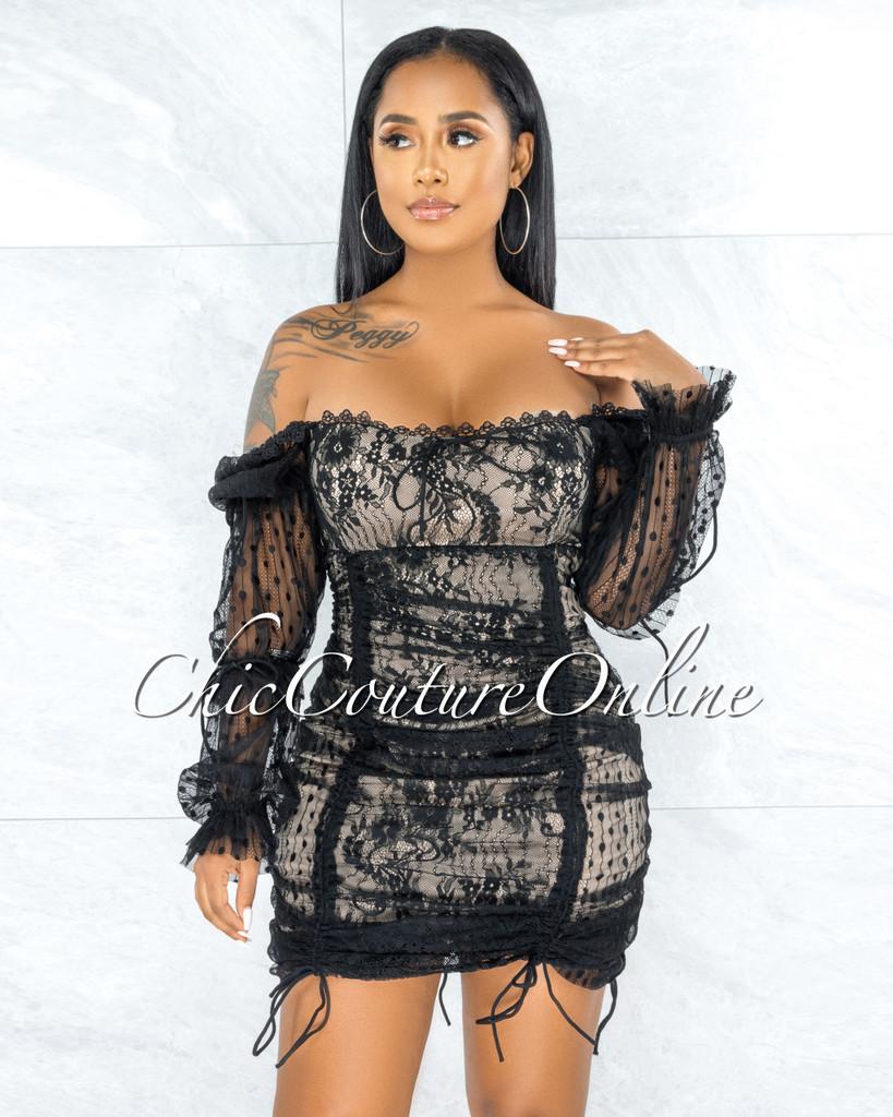 Sanyu Black Lace Nude Illusion Ruched Mini Dress