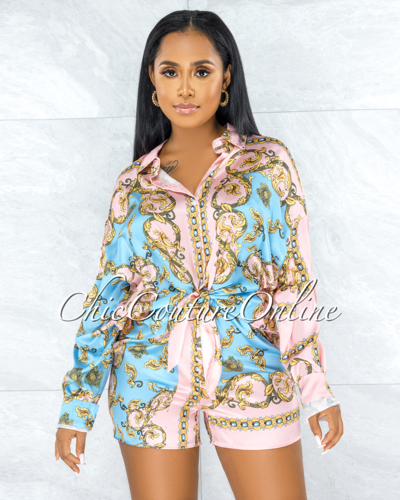 Samone Pink Blue Gold Prit Two Piece Pajama Satin Set