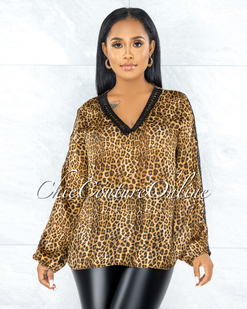 Toviel Leopard Gold Shimmer Black Leather Lattice Blouse
