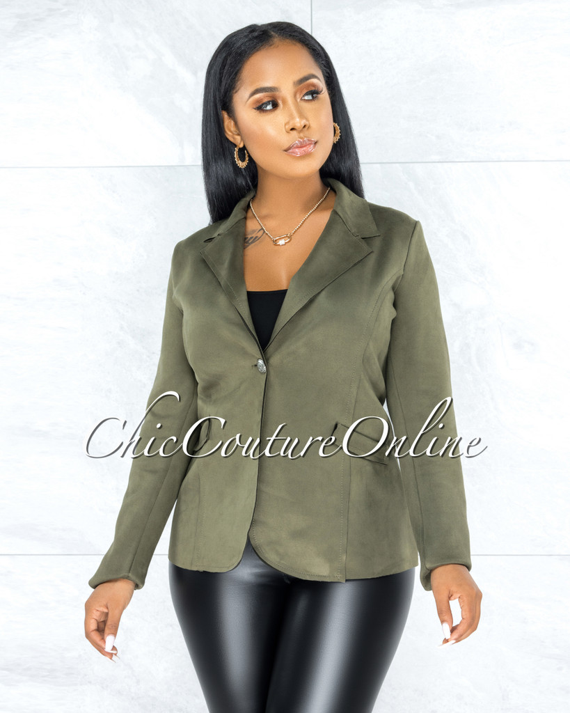 Yamina Olive Green Faux Suede Jacket