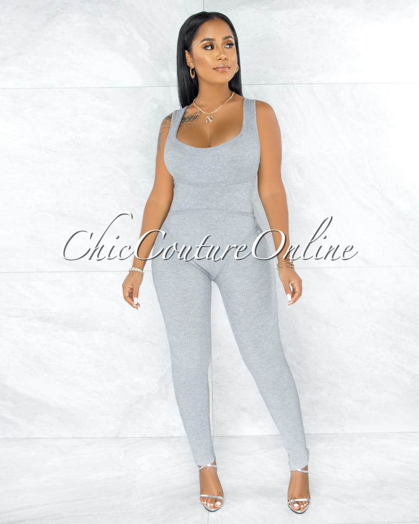 Nadia Grey Ribbed Trim Round Neck Jumpsuit