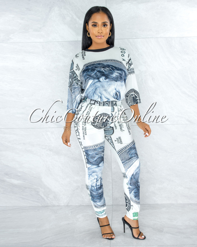 Gita Money Print Velvet Jogger Pants & Sweater Comfy Set