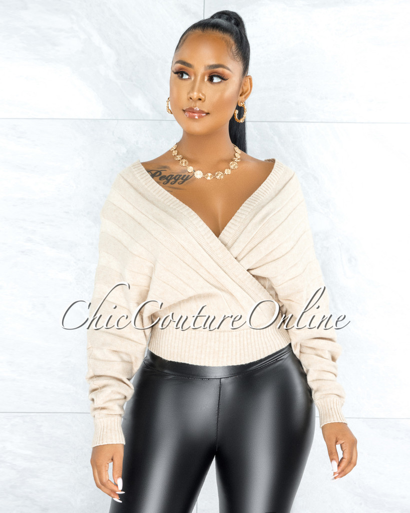 Hyades Beige Ribbed Knit Wrap Top