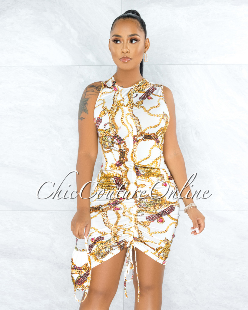 Maite White Multi Color Print Ruched Front Dress w Mask