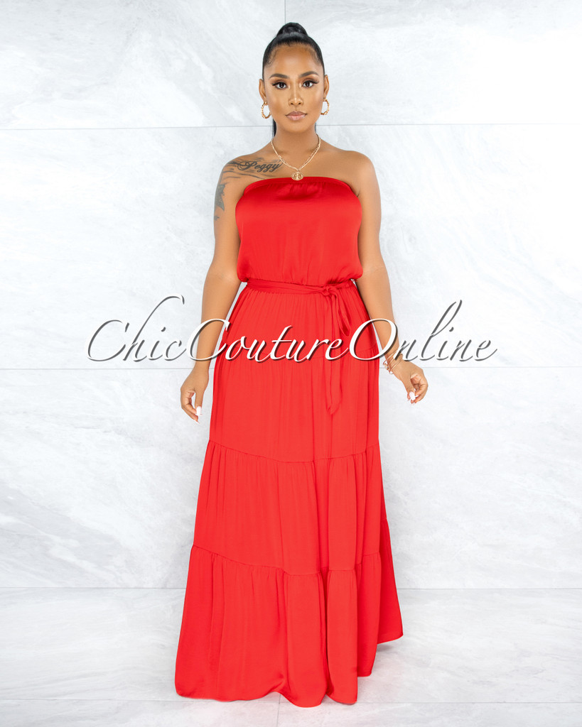 Piaf Red Strapless Ruffle Hem Satin Maxi Dress
