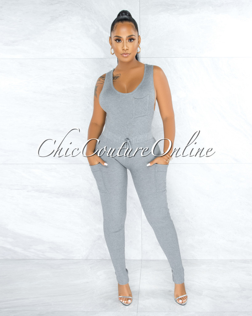 Kanya Grey Ribbed Utility Cargo Jumpsuit