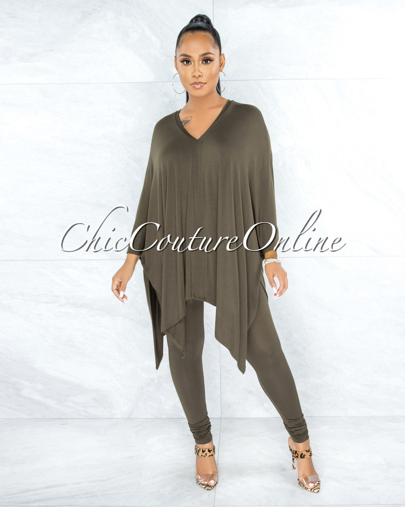 Buena Olive Over-sized Tunic Top & Leggings Two Piece Set