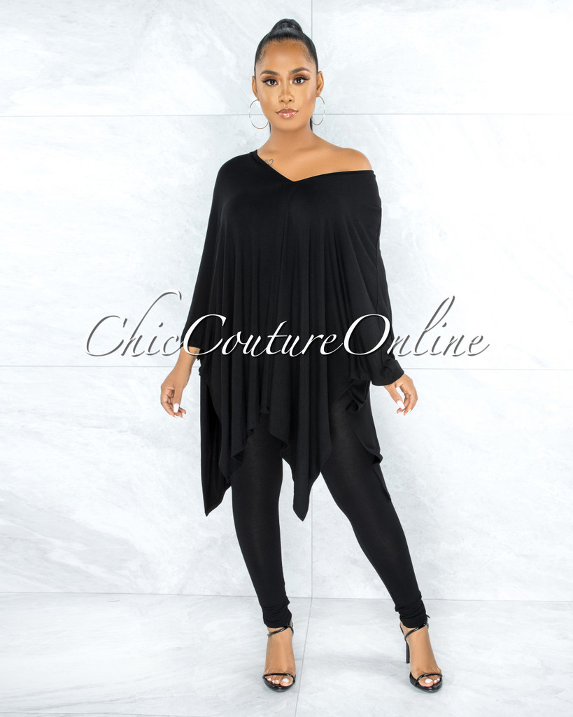 Buena Black Over-sized Tunic Top & Leggings Two Piece Set