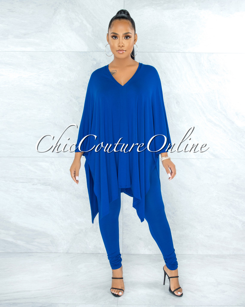 Buena Royal Blue Over-sized Tunic Top & Leggings Two Piece Set