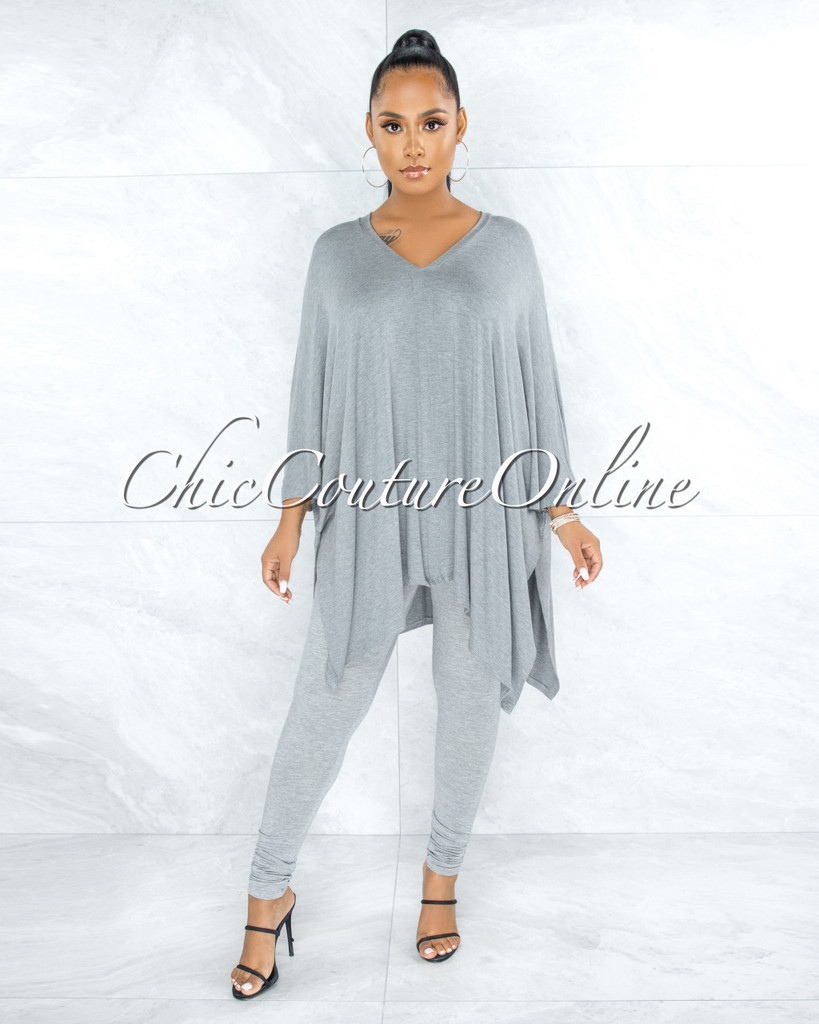 Buena Grey Over-sized Tunic Top & Leggings Two Piece Set