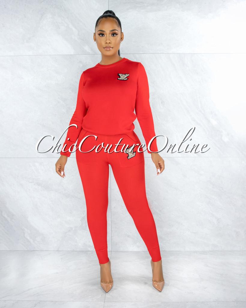 Mirabella Red Knit Pearl Embellishment Jogger Shirt Set