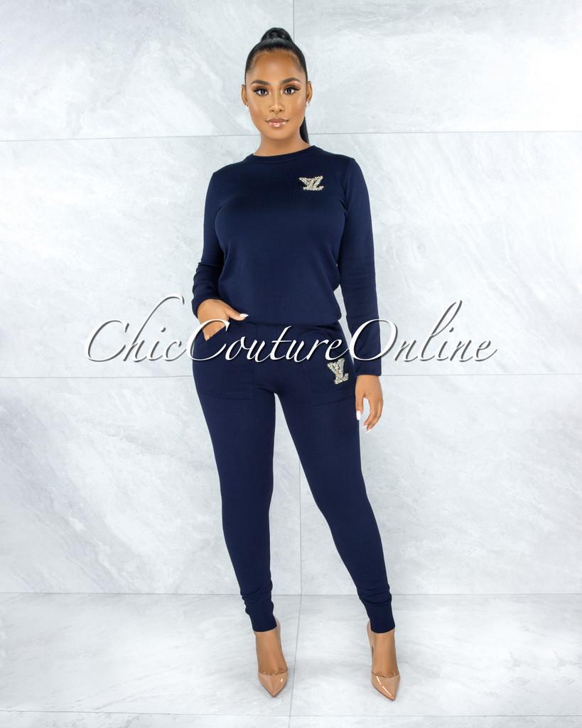 Mirabella Navy Blue Knit Pearl Embellishment Jogger Shirt Set