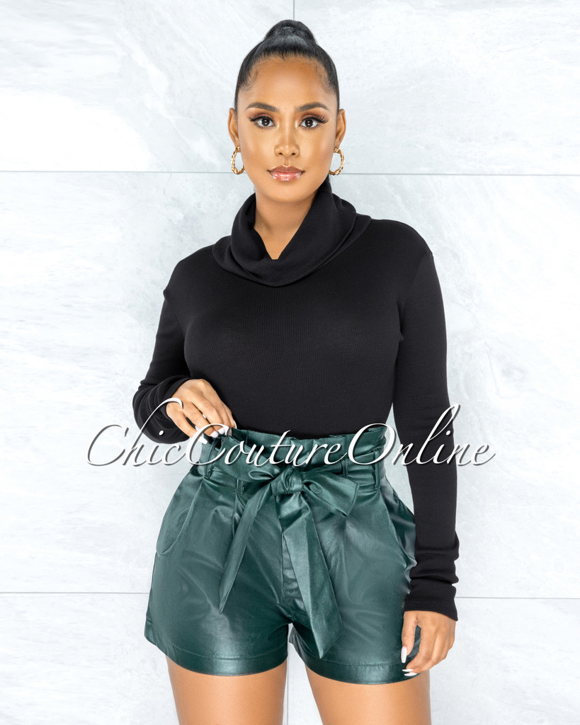Cahira Hunter Green Faux Leather Paper Bag Belt Shorts