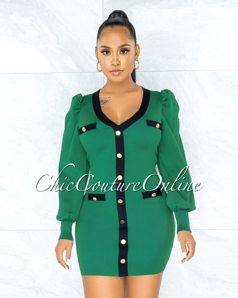 Florizel Green Black Trim Gold Buttons Knit Dress