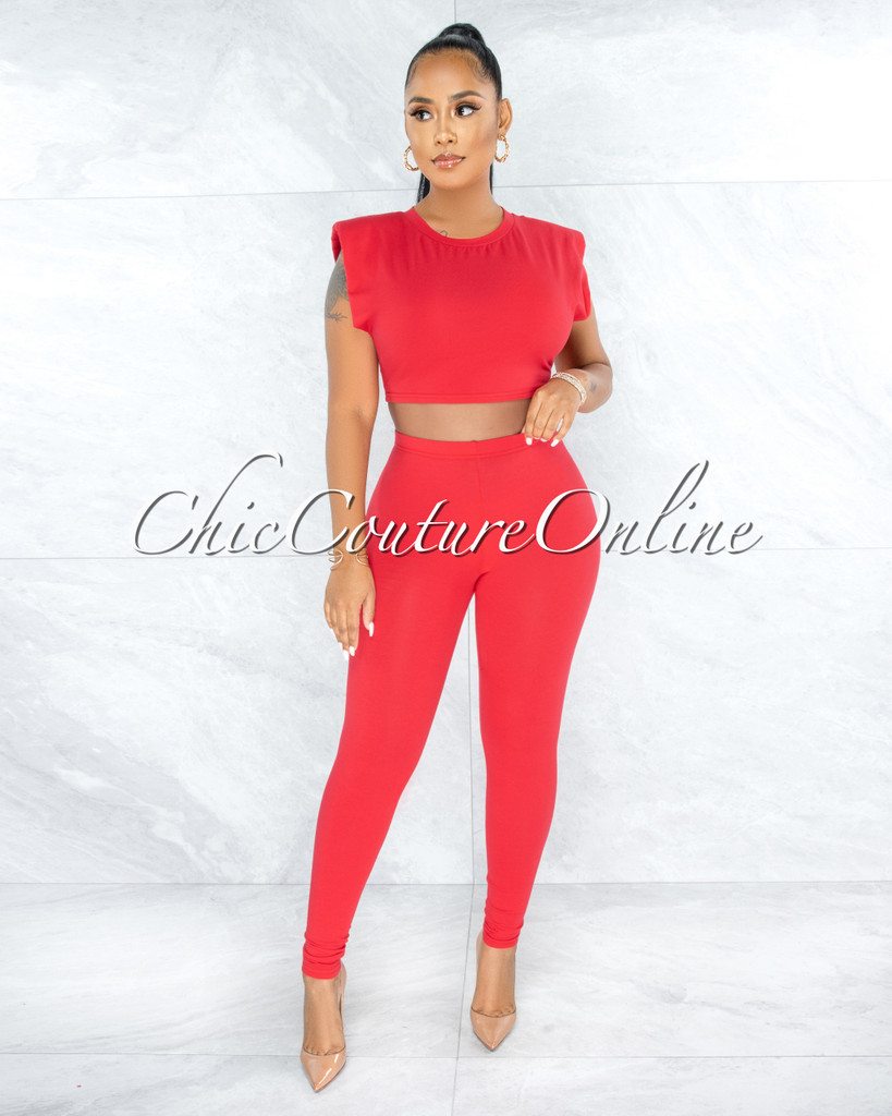 Atalia Red Padded Shoulders Top & Leggings Set