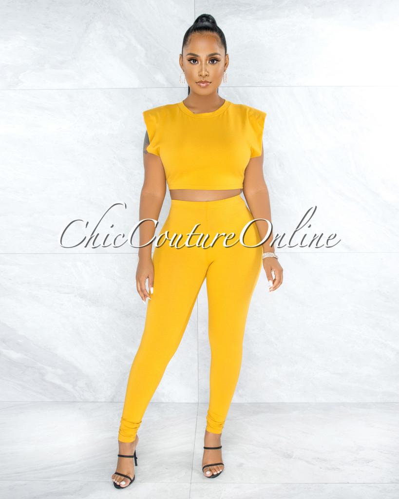 Atalia Yellow Padded Shoulders Top & Leggings Set