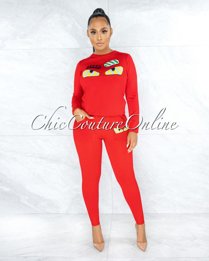 Bedelia Red Knit Multi-Color Fury Accent Jogger Shirt Set