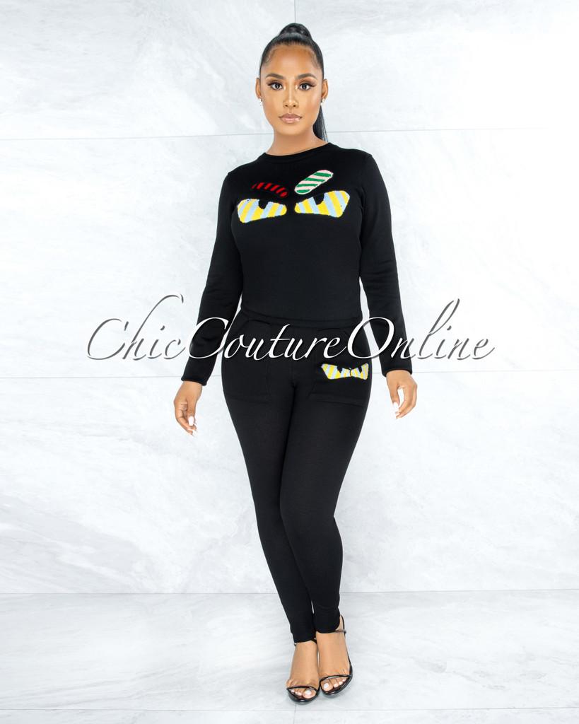Bedelia Black Knit Multi-Color Fury Accent Jogger Shirt Set