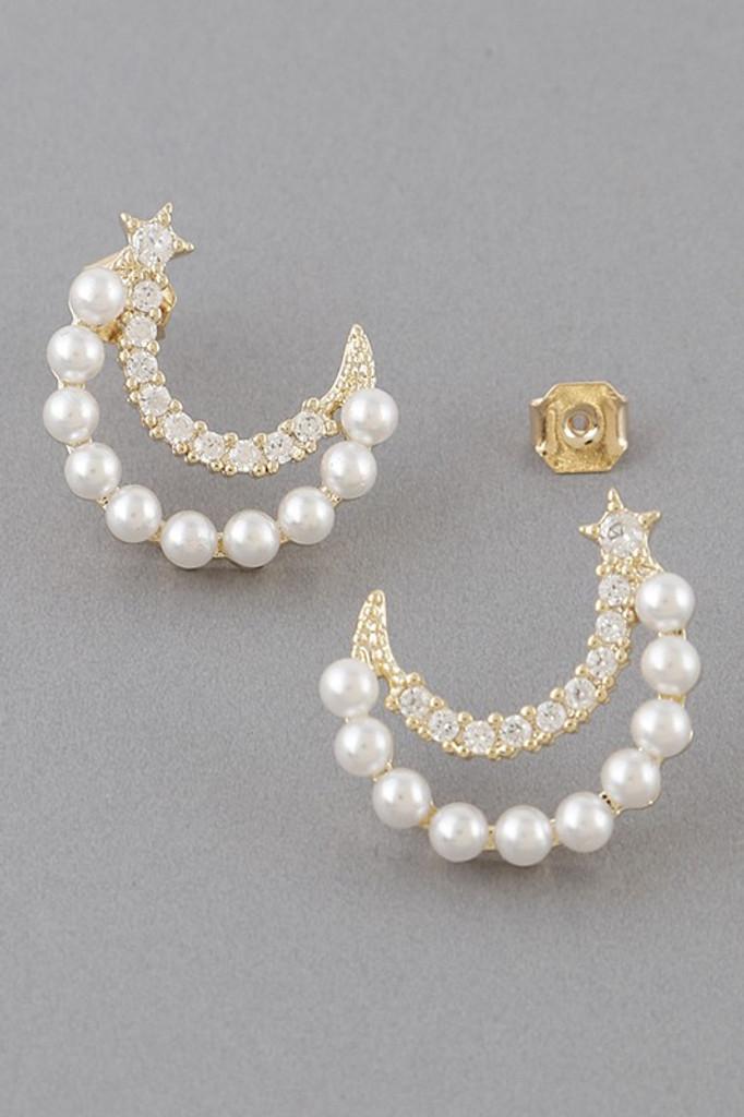 Siesta Gold Pearl Moon Stud Earrings