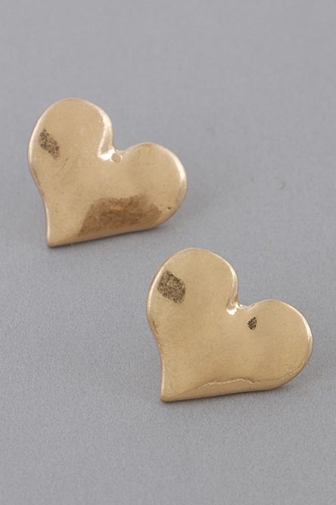 Corra Gold Metal Heart Stud Earrings