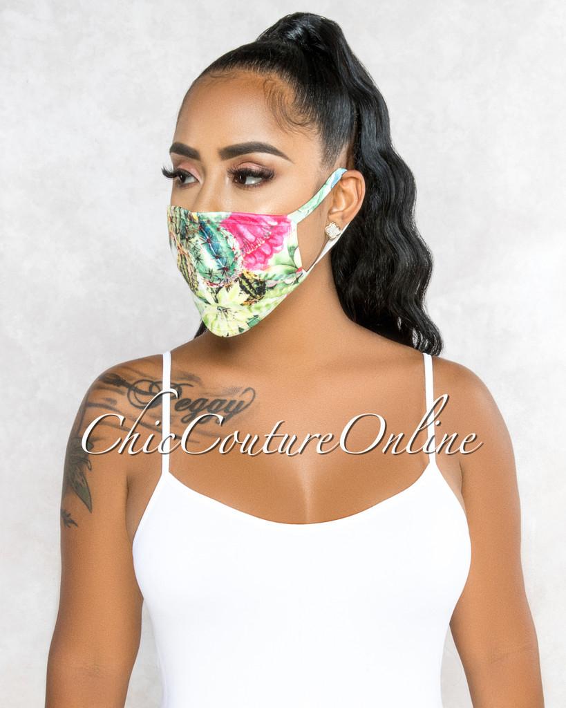 Lenora White Green Cactus Leaf Print Fashion KIDS Mask