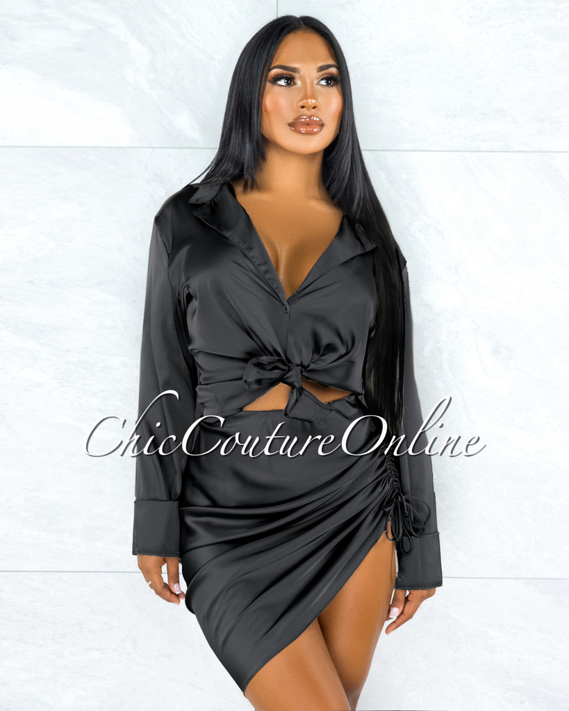 Cherlyn Black Buttoned Blouse Ruched Skirt Satin Set