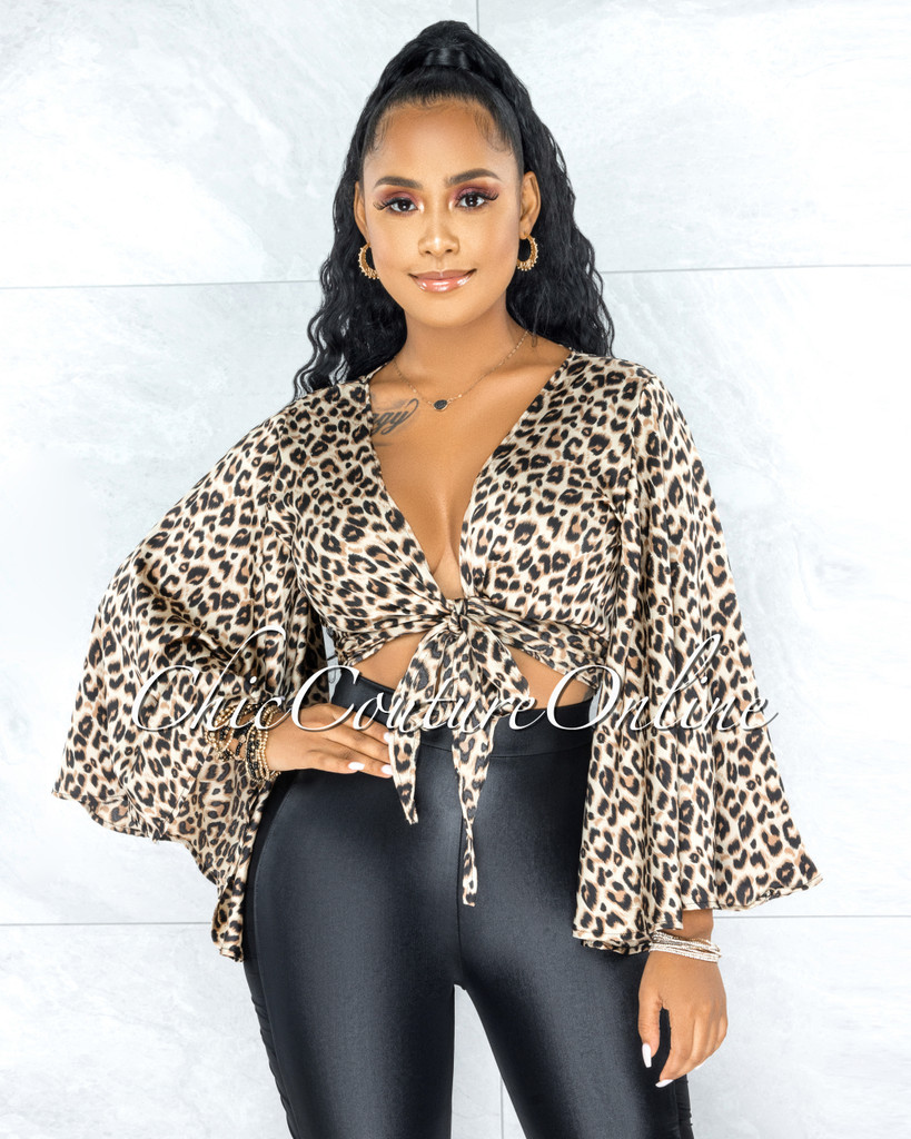 Elania Leopard Print Front Tie Statement Sleeves Blouse