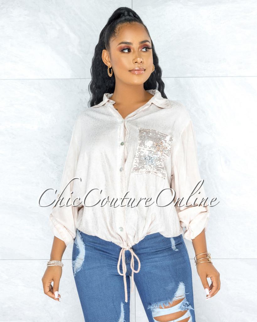 Kaida Blush Silver Shimmer Sequins Stars Pockets Shirt