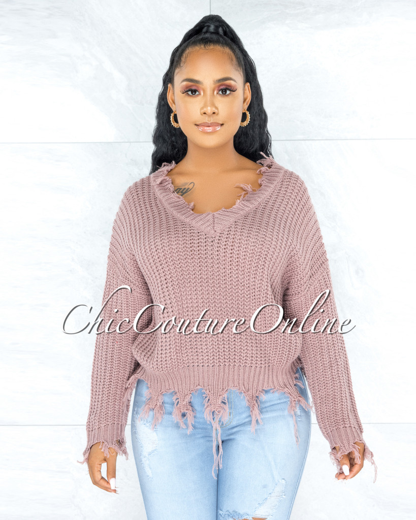 Franz Mauve Oversized Knit Sweater
