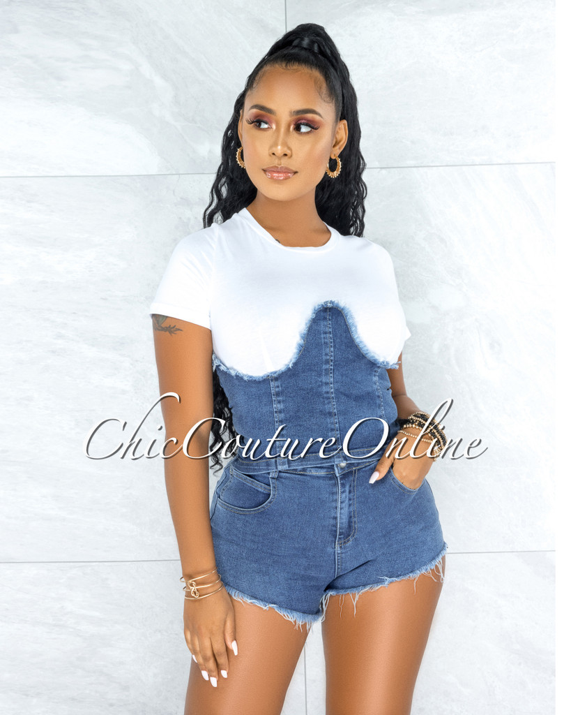Rylan White Blue Denim Overall Illusion Top & Shorts Set