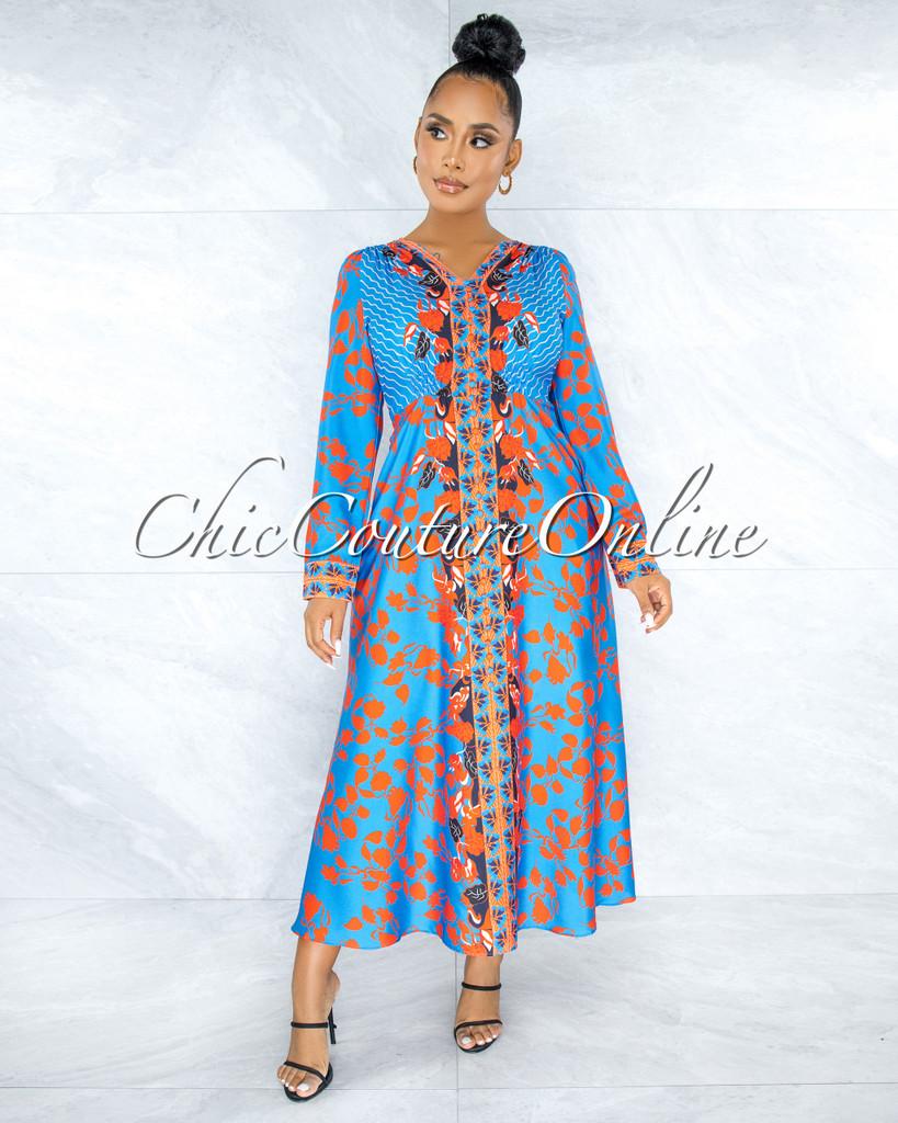 Bingah Blue Red Print Butttoned Maxi Dress