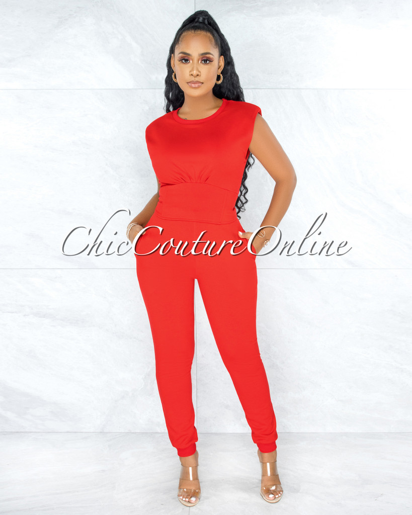 Kalma Red Padded Shoulders Lace-Up Top & Joggers Set