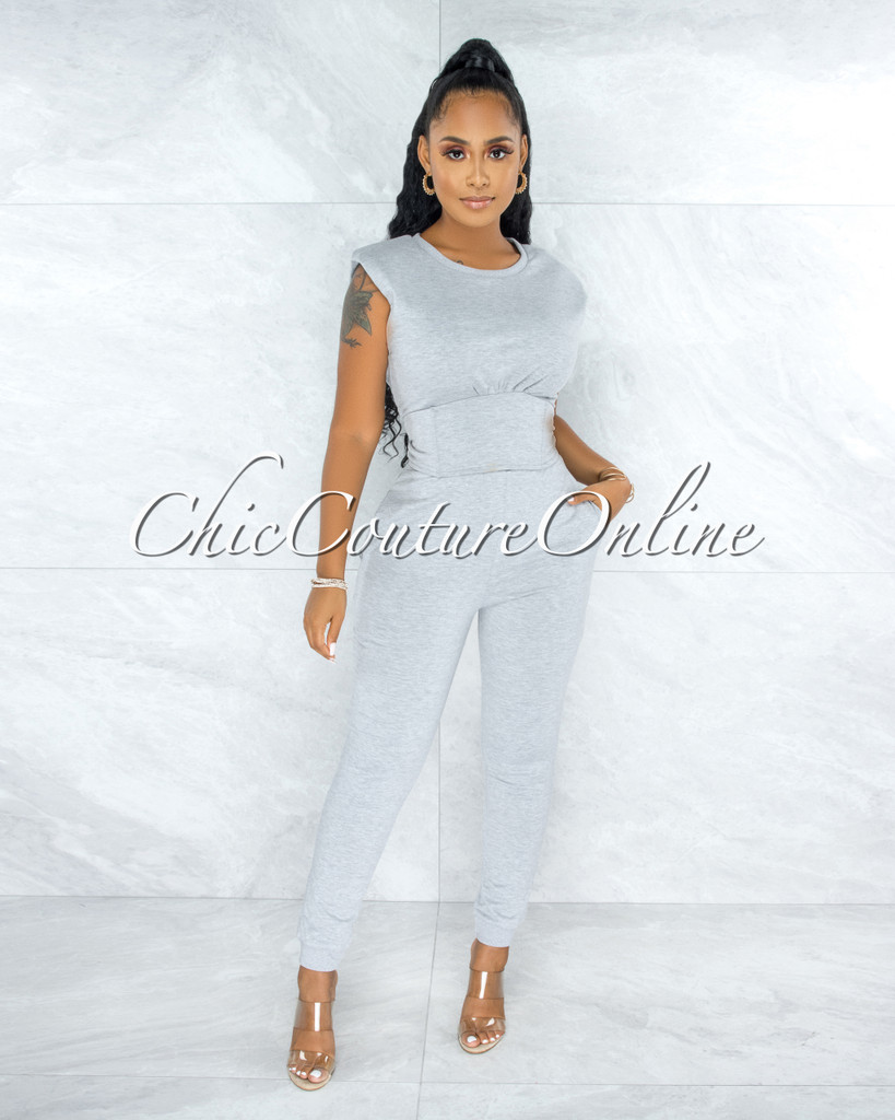 Kalma Grey Padded Shoulders Lace-Up Top & Joggers Set