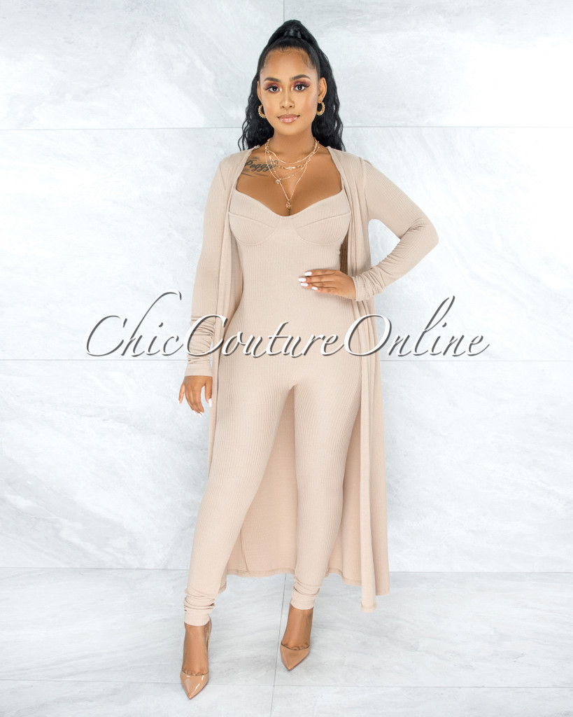 Dasan Nude Ribbed Jumpsuit & Duster Set
