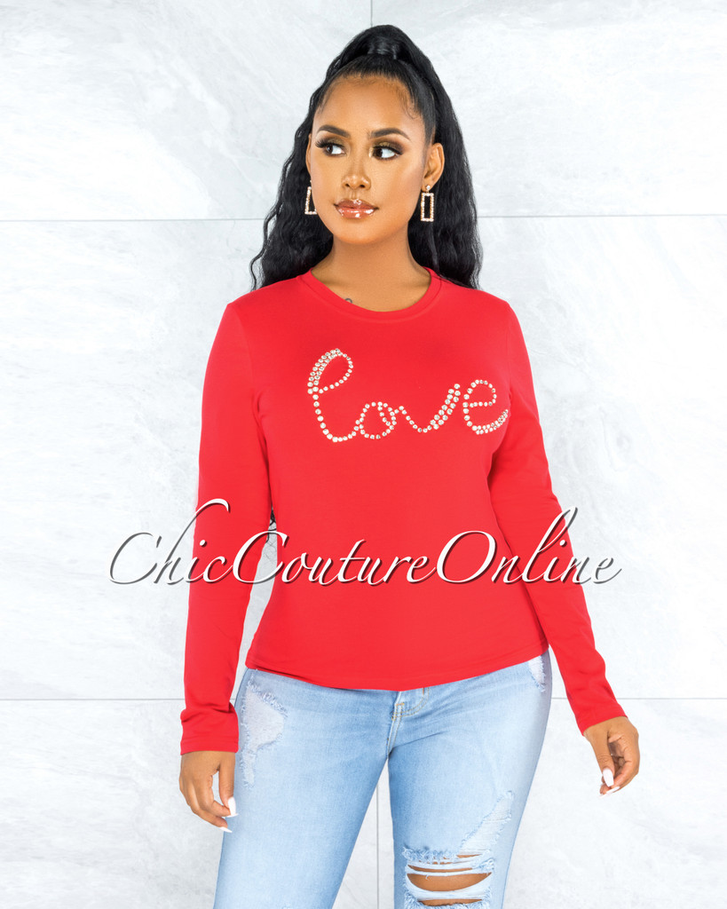 Licey Red Silver Rhinestones Love Graphic T-Shirt