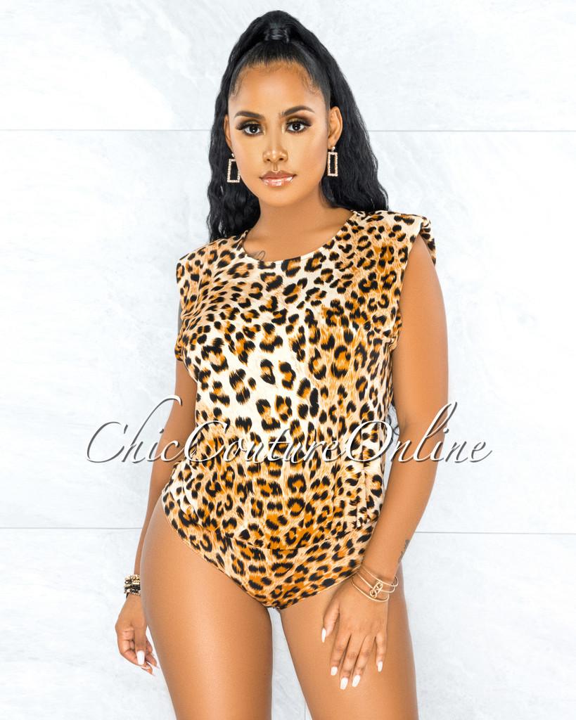 Zigana Leopard Print Padded Shoulders Bodysuit