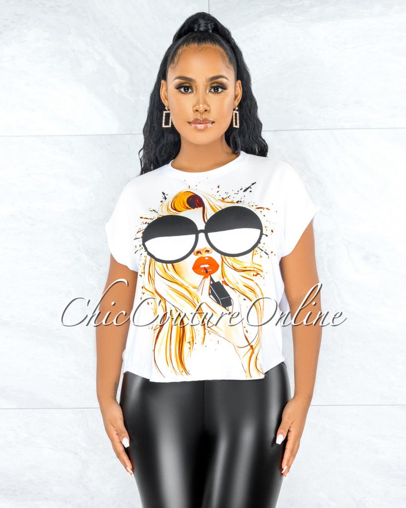 Blanda White Multi-Color Graphic Oversized T-Shirt