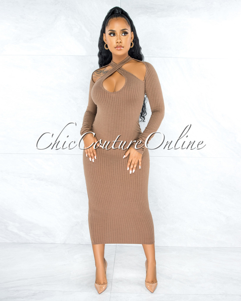 Amrita Mocha Ribbed Multiple Key-Hole Maxi Dress