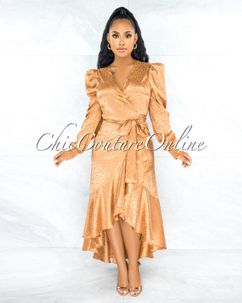 Caprile Gold Leopard Print Satin High Low Ruffle Dress