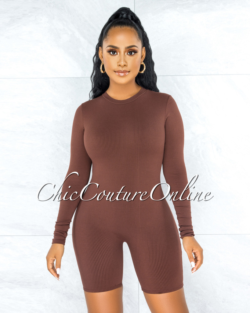 Greer Brown Ribbed Long Sleeves Romper