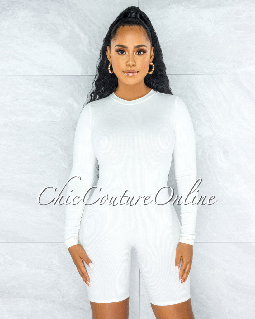 Greer Off-White Ribbed Long Sleeves Romper