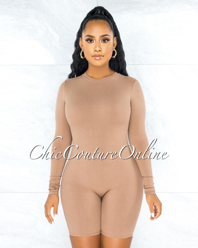 Greer Nude Ribbed Long Sleeves Romper