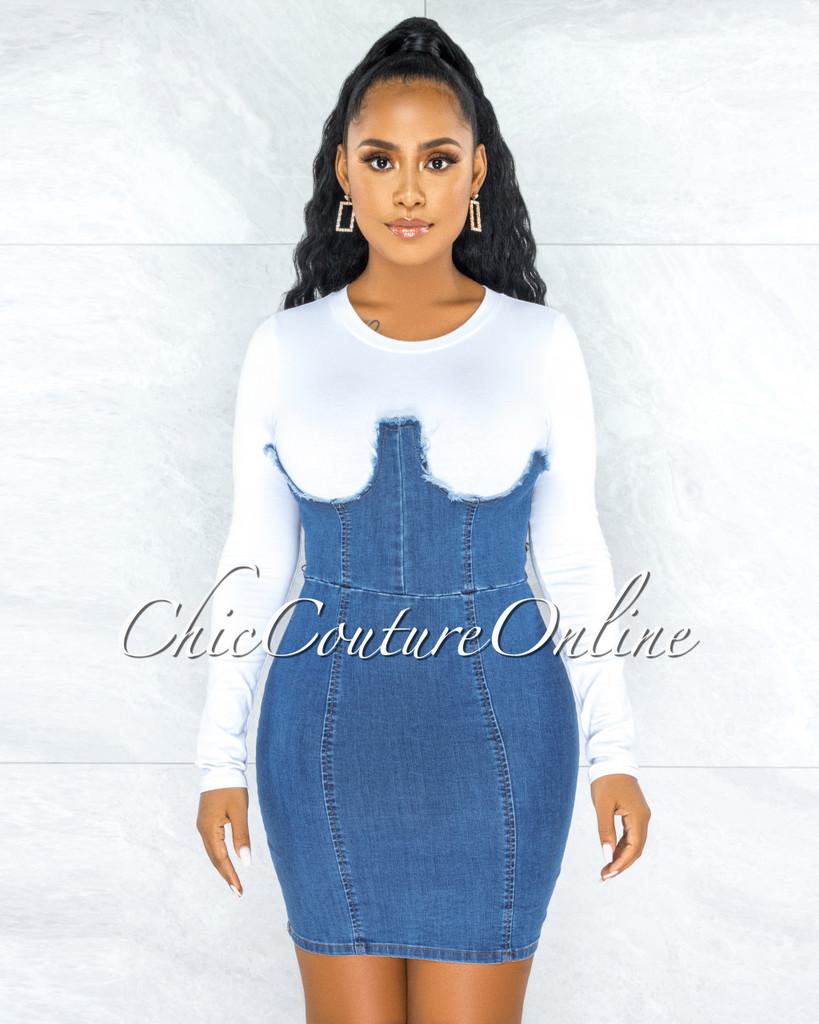 Iamar White Blue Denim Overall Illusion Dress