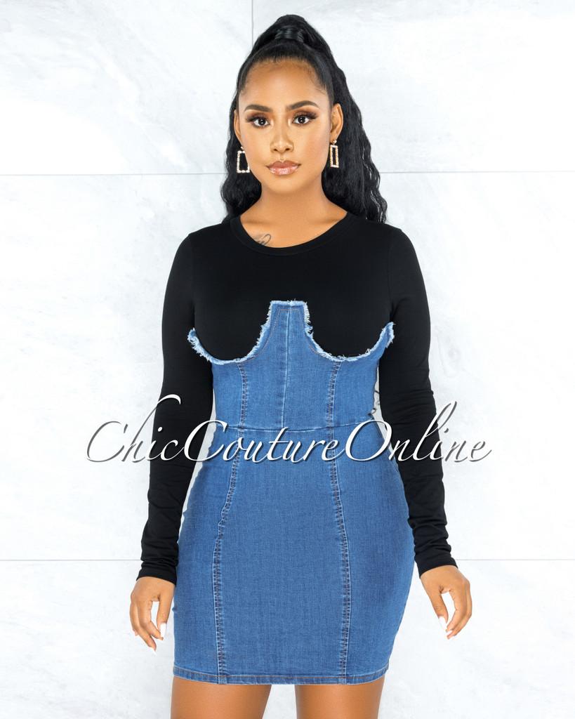 Iamar Black Blue Denim Overall Illusion Dress