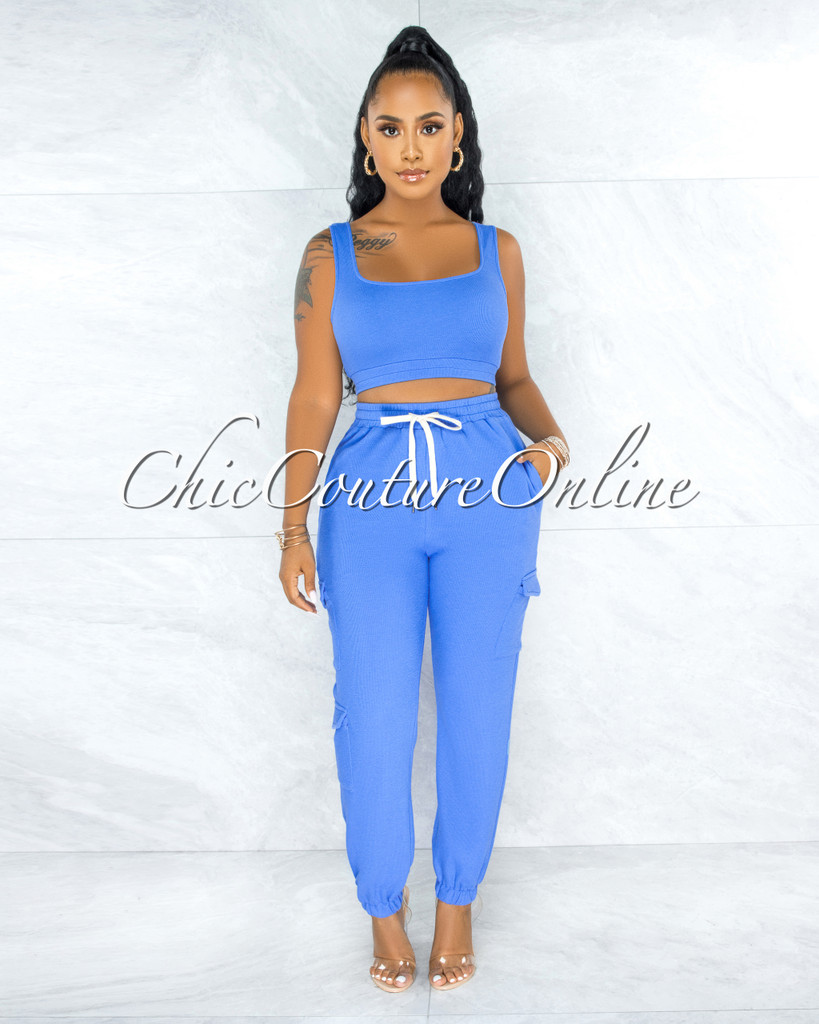 Rubio Periwinkle Ribbed Crop Top Jogger Cargo Set