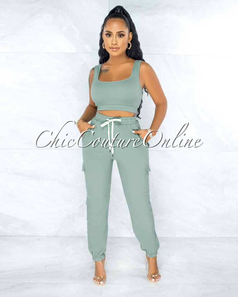 Rubio Sage Green Ribbed Crop Top Jogger Cargo Set