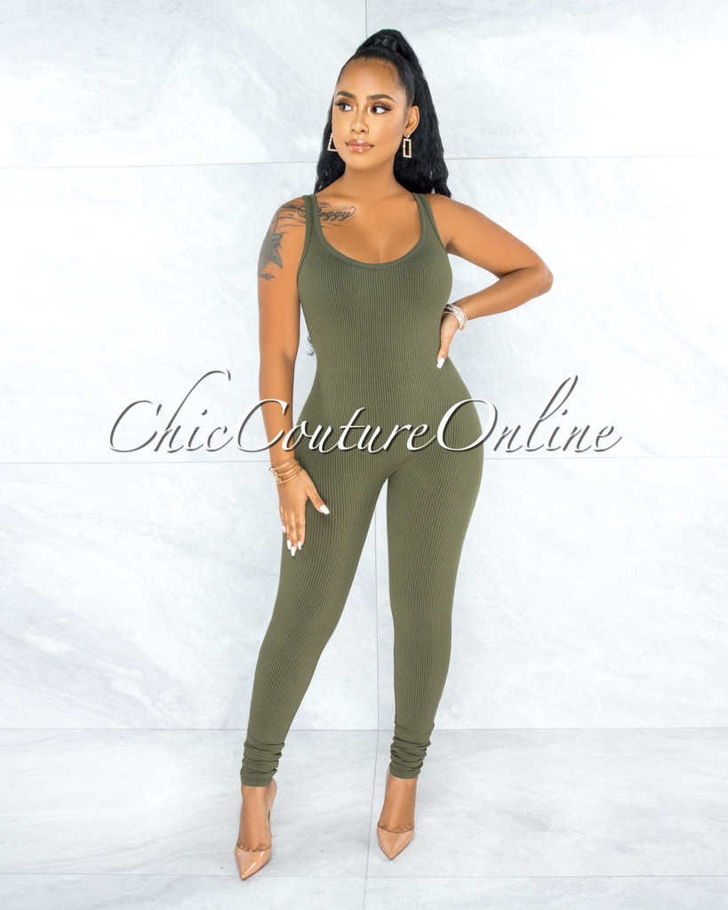 Unity Olive Green Body-Con Ribbed Jumpsuit