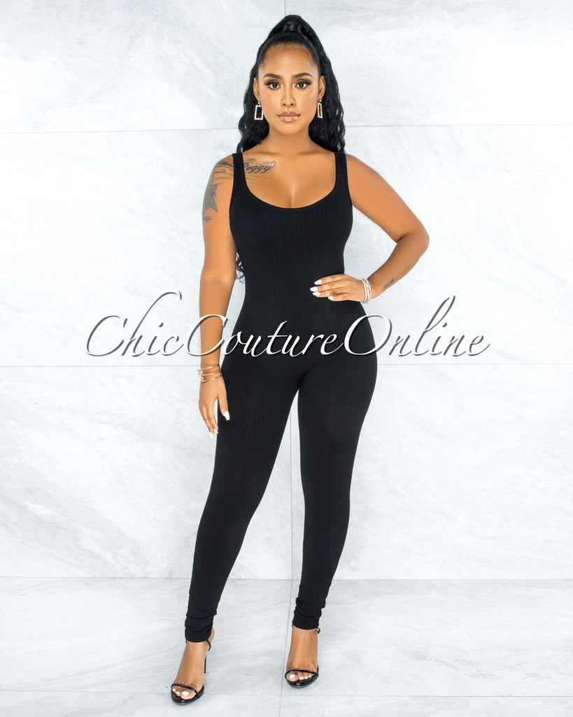 Unity Black Body-Con Ribbed Jumpsuit