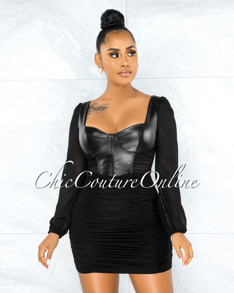 Benigna Black Faux Leather Ruched Mesh Mini Dress